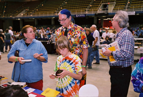 Patch Adams mingles with Rolling Thunder attendees on the Civic Center floor